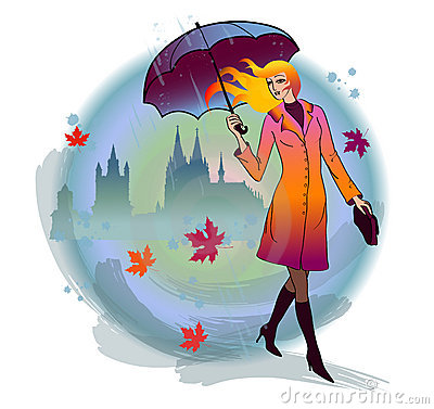 Free Girl With Umbrella Stock Images - 21926054