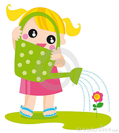 Free Girl With Watering Can Stock Photo - 5561130
