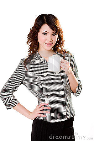 Free Girl With White Mug Stock Image - 4023991