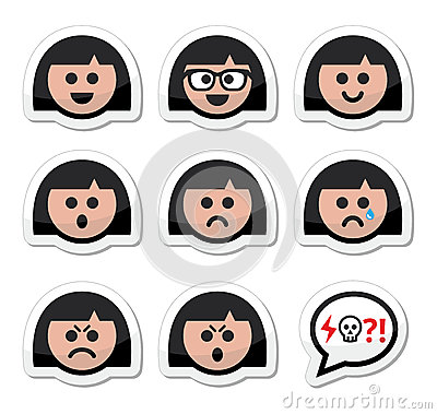 Girl or woman faces, avatar  icons set
