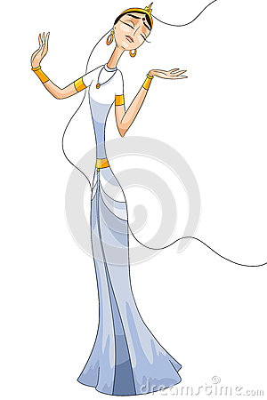 Girl woman Indian character cartoon style  illustration