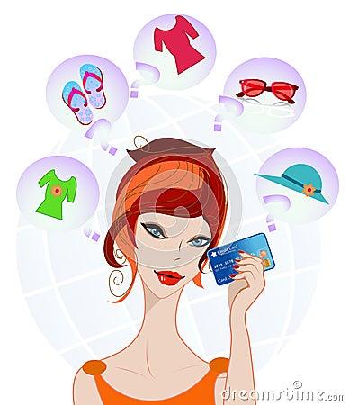 Girl wondering for shopping