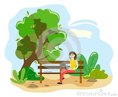 The girl is working at the computer on a park bench. Illustration in the style of flat Vector Illustration