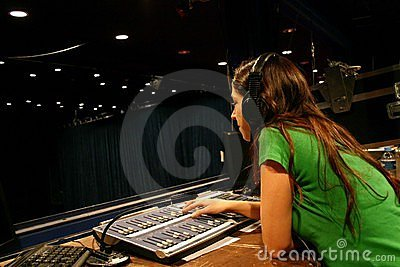 Girl working on console