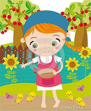 Girl working in farm