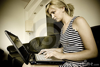 Girl working on her laptop