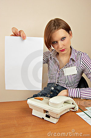Girl working in an office with a sheet