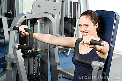 Girl working out in the gym