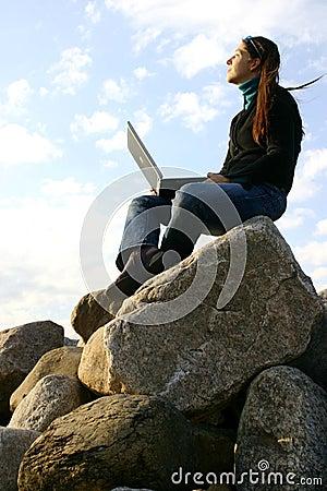 Girl working on top
