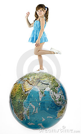 Girl with world