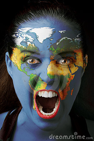 Girl with world map