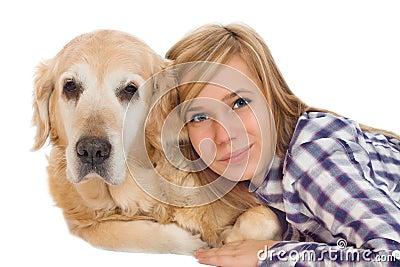 Girl woth pet dog