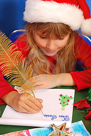 girl writing a letter to santa royalty free stock images image 16940109
