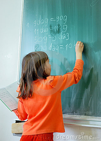 Girl writting on school board