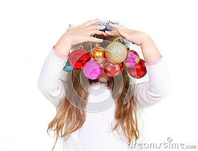 Girl with xmas balls