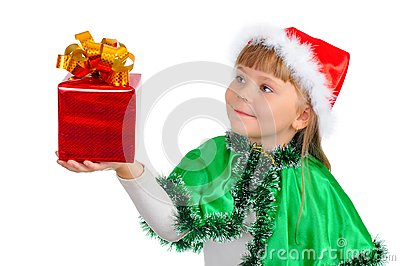 The girl in a Xmas suit with a gift