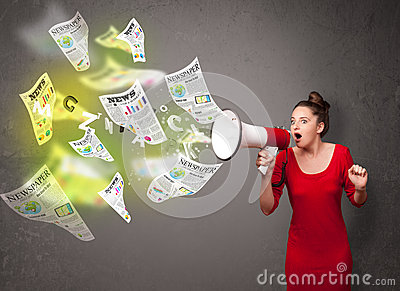 Girl yelling into loudspeaker