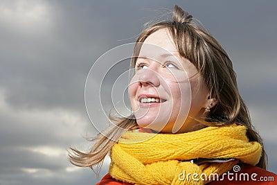 Girl with yellow comforter