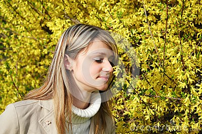 Girl and yellow flowers hovering
