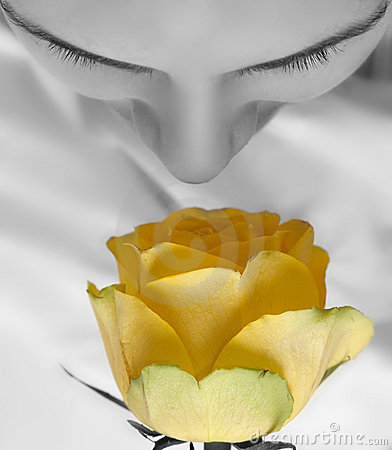 Girl and yellow rose