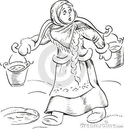 Girl with yoke