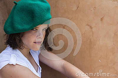 Girl Young Beret Portrait