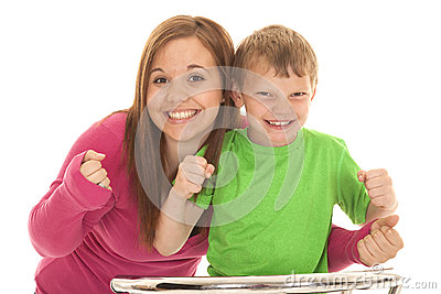 Girl and young boy excited