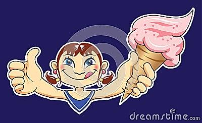 Girl with Yummy Ice Cream