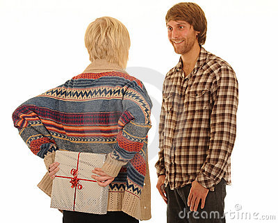 Girlfriend Giving Man Present Stock Photo - Image: 22522890