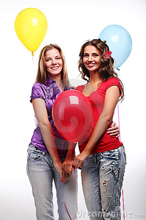 Girlfriends and balloons