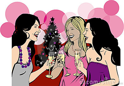 Girlfriends celebrate Christmas party