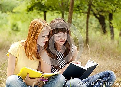 Girlfriends doing homework at the park.