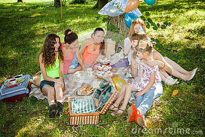 Girlfriends on picnic