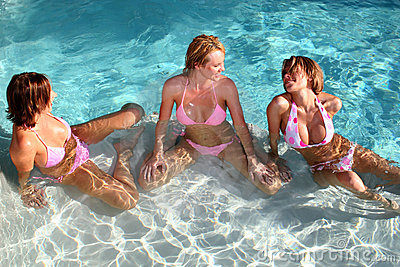 Girlfriends at the Pool