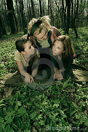 Free Girlfriends Relaxing In Forest Stock Photos - 2505293