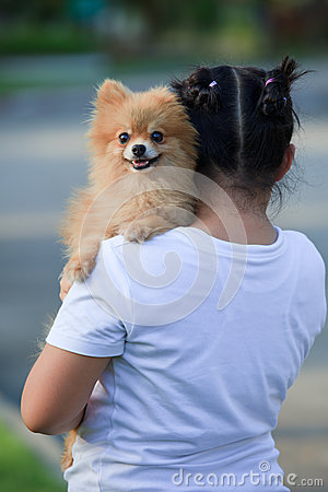Girlholding  pomeranian dog