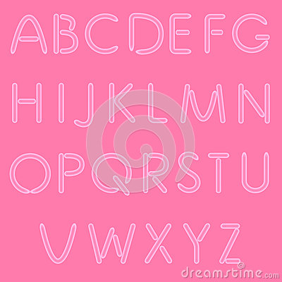 Girlish Letters. ABC, Font.  On Pink Background