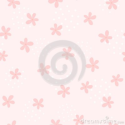 Free Girlish Seamless Pattern With Cute Flowers. Endless Girly Print. Stock Photo - 116082520