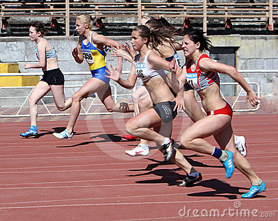 Girls on the 100 meters race Editorial Stock Photo