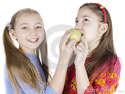 Girls with a apple