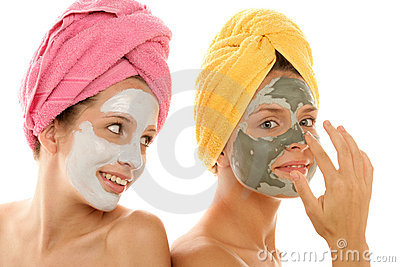 Girls applying mask