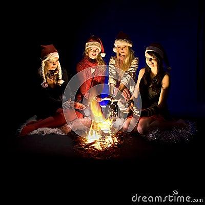 Free Girls Around Campfire Stock Image - 10265831