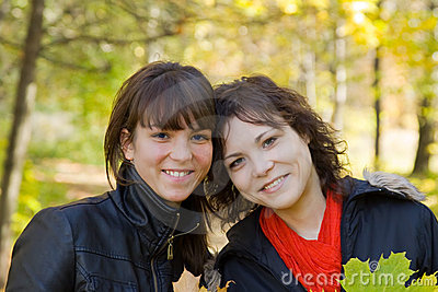Girls in autumn park