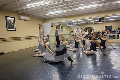 Girls Ballet Floor Instructor Studio Editorial Photography