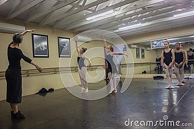 Girls Ballet Dance Instructor Studio Editorial Stock Image