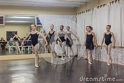 Girls Ballet Dance Pose Practice Studio Editorial Stock Image
