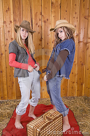 Girls in barn runny poses