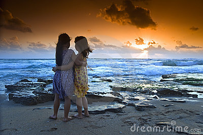 Girls beach sunset