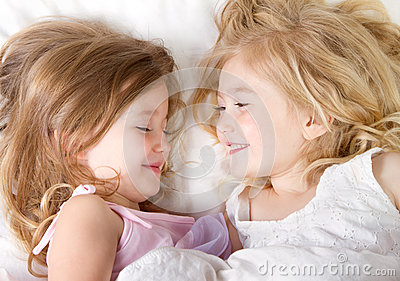 Girls in bed having a sleep-over