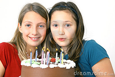 Girls with birthday cake